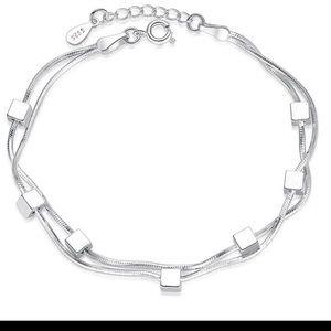 NEW 925 Sterling Silver bracelet cubes womens